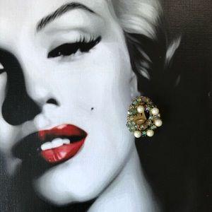 🔥 Vintage Aurora Borealis Pearl Clip On Earrings